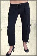 Grail Standard Solid No Graphic Cargo Pocket Adjustable Length Womens Tie Waist Sweat Pants in Black - SIZES XS-L LEFT