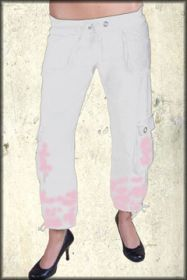 Grail Standard Solid No Graphic Cargo Pocket Ajustable Length Womens Tie Waist Sweat Pants in White & Pink Dip Dye - SIZES XS-L LEFT