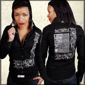 English Rose Cisteriant Lyric Poem Embroidered Womens Long Sleeve Button Up Dress Shirt in Black