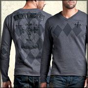 Remetee Ghillie Black Leather Cross Patch Mens Long Sleeve Argyle V Neck Sweater in Charcoal Grey -  SIZE XXL / 2XL LEFT