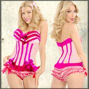 Trashy Lingerie Carousel Burlesque A-List Celebrity Designer Hand Made USA High Quality Womens Ruffle Stretch Corset Top in Pink & Hot Pink Trim