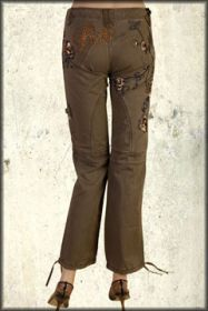 Rebel Spirit Paradise Flowers Birds Rhinestones Embroidered Womens Long Cargo Pants in Olive Green