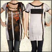 Salvage Marauder Dual Chest Straps Patchwork Deconstructed  Womens Short Sleeve Scoop Neck T-Shirt Dress or Long Top in Tan Brown Black