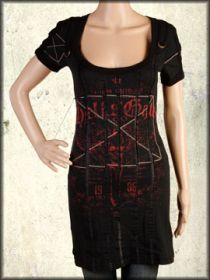 Salvage Red Hells Gate Winged Skull Lace D-Rings Womens Short Sleeve Scoop Neck T-Shirt Dress or Top in Black