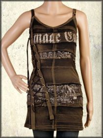 Salvage Damage Case Distressed Print Metal Grommets Corset Lacing Womens Halter Dress or Top in Brown Gravel Wash - SIZE LARGE
