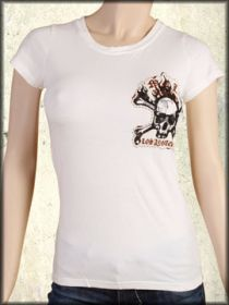 Motor City Legends Burning Skull Flames Embroidered Womens Short Sleeve T-Shirt in Vintage White - Size XS Left