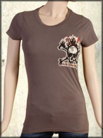 Motor City Legends Burning Skull Flames Embroidered Womens Short Sleeve T-Shirt in Brown - Size Small Left