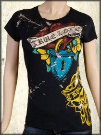 Motor City Legends True Love Hearts Locket Tattoo Swarovski Crystal Rhinestones Womens Short Sleeve T-Shirt in Navy Blue - Size Small Left