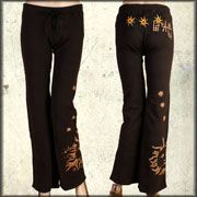 Bejeweled Myth Dragons Sun Stars Medieval Fantasy Artisan Heavy Embroidered Womens Long Drawstring Sweat Pants in Black Wash