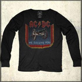 Trunk LTD ACDC We Salute You 1981 Album Band Concert Mens Long Sleeve Thermal Shirt in Raven Black