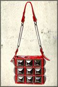 Hard Wear Metal Pyramid Studded Zipper Womens Small Shiny Bycast Pleather Handbag Purse in Red