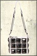 Hard Wear Metal Pyramid Studded Zipper Womens Small Shiny Bycast Pleather Handbag Purse in White