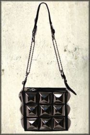 Hard Wear Metal Pyramid Studded Zipper Womens Small Shiny Bycast Pleather Handbag Purse in Black