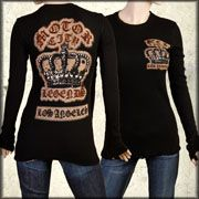 Motor City Legends Royalty Crown Gold Banner Womens Long Sleeve Thermal Shirt in Black - Size Large Left