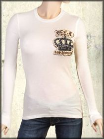 Motor City Legends Royalty Crown Gold Swarovski Crystal Rhinestones Womens Long Sleeve Thermal Shirt in Vintage White - Size XS Left