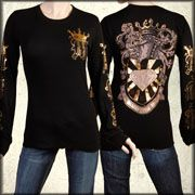 Motor City Legends Knight Armor Diamond Shield Gold Crown MCL Logo Womens Long Sleeve Thermal Shirt in Black - Size Large Left