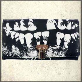 Iron Fist Loose Tooth Skeleton Dental X-Ray Ghoulish Teeth Pop Art Distressed Print Unisex Bycast Leather Wallet in Black