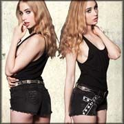 Lip Service Black Flag White Stars Print Graphics Cut Off Womens Denim Shorts in Dark Charcoal Grey SIZES 25-31