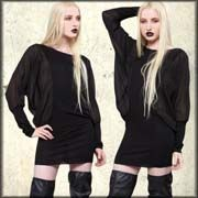 Widow by Lip Service Blackout Semi Sheer Stretch Womens Long Sleeve Boatneck Dress or Tunic Top in Black XS S