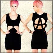 Lip Service Anarchy Cut Out Panel Metal O-Ring Stretch Womens Tank Mini Dress in Black