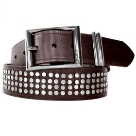 Affliction Flat Metal Rivets Round Dome Studded Mens Belt in Genuine Brown Leather - Sizes 36 & 38