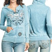 Affliction American Customs Creeps Winged Skull Crossbones Womens Long Sleeve Zip Front Hoodie in Sky Blue