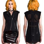 Lip Service High Low Metal Studs Moto Zipper Front Sheer Mesh Back Panel Womens Stretch Denim Vest or Top in Jet Black
