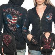 Affliction Heartland Skull Emblem Heart Angel Wings Stars Stripes Lace Womens Long Sleeve Zip Front Hoodie in Black  - Reversible 2 Designs 1 Hoodie