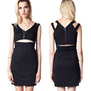 Kill City Waisted Sexy Cut Out V Neck Halter Womens Tank Mini Dress in Black