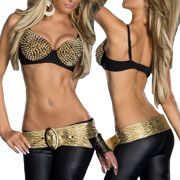 LA Rockers Gold Pyramid Studded Heavy Metal Womens Bra Top in Black