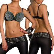 LA Rockers Chained Metal Chains Studded Heavy Metal Womens Bra Top in Black