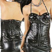 LA Rockers Vixen Metal Spiked Studded Lace Up Corset Style Faux Leather Womens Bustier Top in Black