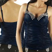 LA Rockers Vamp Metal Pyramid Studded Ruched Faux Leather Womens Bustier Top in Black