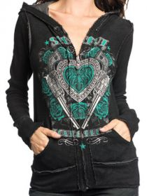 Sinful Love Bandit Heart Guns Angel Wings Blue Roses Womens Long Sleeve Zip Hoodie in Black & Charcoal Grey - Reversible 2 Styles 1 Hoodie