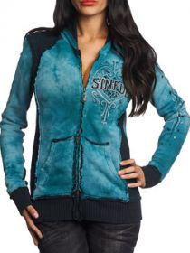 Sinful Blitzkrieg Heart Angel Wings Stars Leopard Print Womens Long Sleeve Zip Front Hoodie in Turquoise Blue & Black Crystal Wash