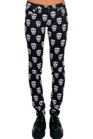 Tripp NYC May Skull White Skulls All Over Print Collage Stretch Denim Womens Skinny Jeans in Black - SIZES 24 25 26 LEFT