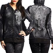 Affliction Ascension Ornate Cross Angel Wings Filigree Distressed Edgy Womens Long Sleeve Zip Front Hoodie in Black Bleach Brush Wash - SIZE S LEFT