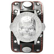 Affliction Live Fast Silver Skull Metal Medallion Stars Fleur Crystal Extra Wide Genuine Leather Band Cuff Mens Watch in Black & Red