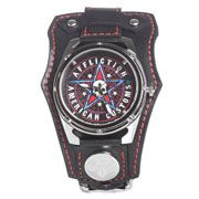 Affliction American Customs Skull Stars Metal Live Fast Life Death Fuel Speed Crystal Wide Genuine Leather Band Cuff Mens Watch in Black & Red