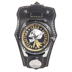 Affliction American Customs Seek Destroy Native American Indian Warrior Skull Crystal Wide Genuine Leather Band Cuff Mens Watch in Black & Gold