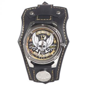 Affliction American Customs Live Fast 13  Winged Skull Crossbones Banners Tattoo Crystal Wide Genuine Leather Band Cuff Mens Watch in Black & Gold