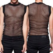 Widow by Lip Service Dragnet Fishnet Mesh Stretch Metal Industrial Goth Club Mens Crew Neck Tank Top Shirt in Black - SIZE LARGE