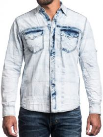 Affliction American Customs Take A Swing Winged Skull Back Patch Mens Long Sleeve Button Up Woven Dress Shirt in White & Blue Seam Wash - UP TO 3XL