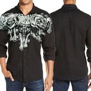 Affliction Wolves Wolf Pack Snarling Growling Mens Long Sleeve Button Up Woven Dress Shirt in Black Lava Wash - RARE SIZE SMALL LEFT