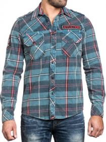 Affliction Eastside Small Embroidered Logo Spade Patch Mens Long Sleeve Button Up Woven Dress Shirt in Legion Blue Plaid - UP TO SIZE MEDIUM