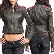 Affliction Steadfast White Stars Red Stripes Corset Lace Up Metal Grommets Womens Long Sleeve Cropped Zip Front Moto Genuine Leather Jacket in Black
