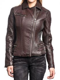 Affliction Wings Earned Metal Grommets Corset Lace Up Sleeves Womens Long Sleeve Zip Front Textured Faux Leather Moto Jacket in Burgundy Red