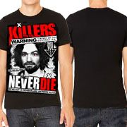 Killers Never Die Charles Manson Were Not In Wonderland Anymore Alice Mens Short Sleeve T-Shirt in Black - UP TO SIZE 3XL