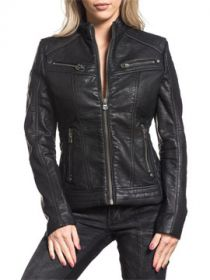 Affliction Black Water Ornate Cross Metal Dome Studded Zippers Moto Style Womens Long Sleeve Zip Front Faux Leather Jacket in Black