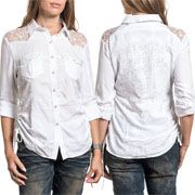 Affliction Endless Roads Heart Sword Filigree Rhinestones Ruched Tie Sides Lace Shoulder Womens Long Sleeve Button Up Woven Dress Shirt in White